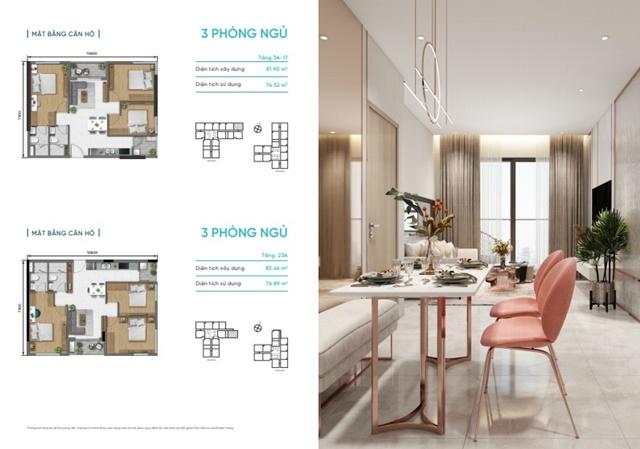 Thiết kế chi tiết căn hộ 3 phong ngủ dự án D-Aqua