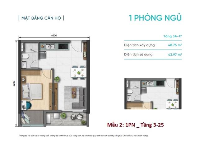 Thiết kế căn hộ Studio 31m2 dự án D-Aqua Bến Bình Đông