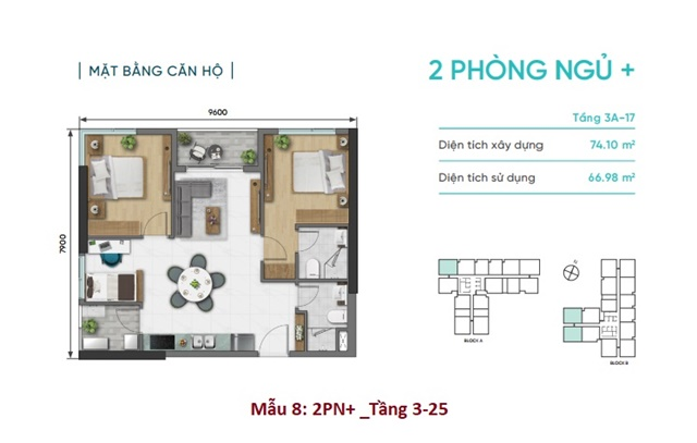 Mặt bằng căn hộ D Aqua - 2 phòng ngủ