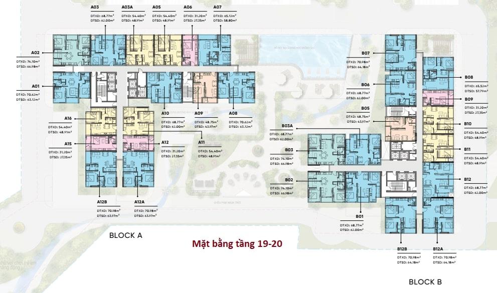 Mặt bằng tằng 19 dự án D-Aqua Quận 8 chủ đầu tư DHA Corp