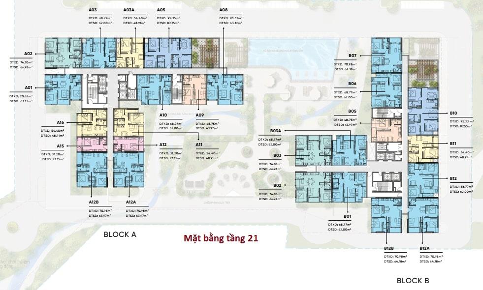 Mặt bằng bố trí căn hộ chi tiết tầng 21