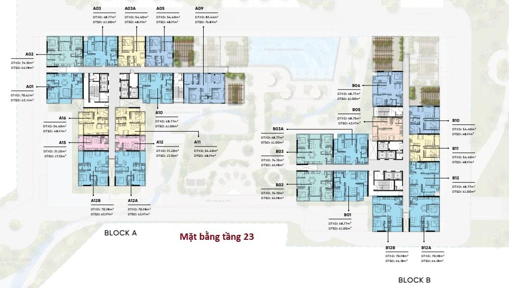 Mặt bằng bố trí căn hộ chi tiết tầng 23