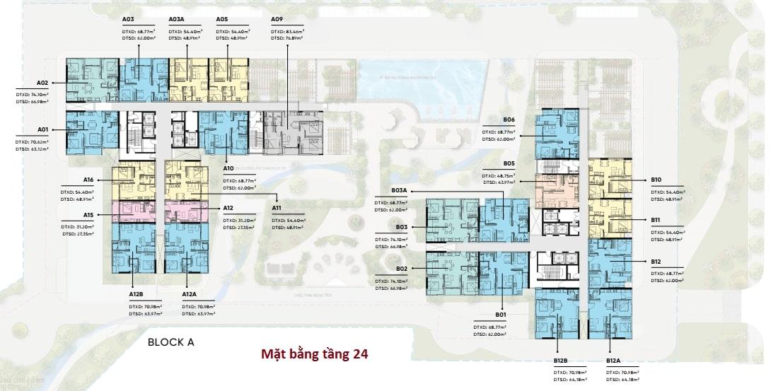 Mặt bằng bố trí căn hộ chi tiết tầng 24