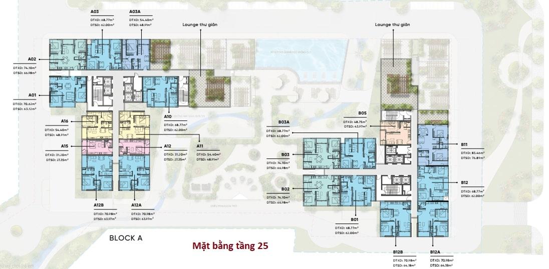 Mặt bằng bố trí căn hộ chi tiết tầng 25