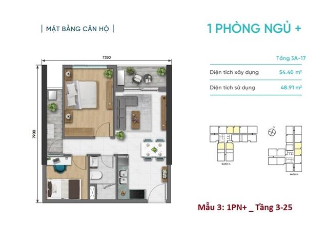 Mặt bằng căn 1 phòng ngủ + 1 dự án D Aqua