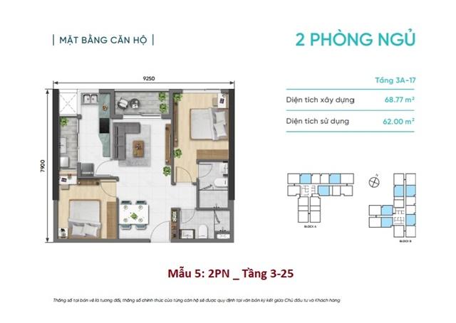 Mặt bằng căn 2 phòng ngủ D Aqua Quận 8