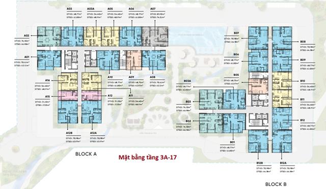 Mặt bằng căn hộ D Aqua tầng 4 -17