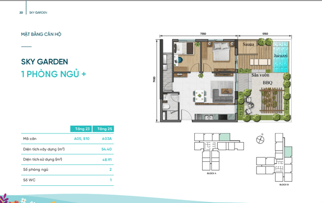 Sky Villa D Aqua quận 8 - căn 2 phòng ngủ
