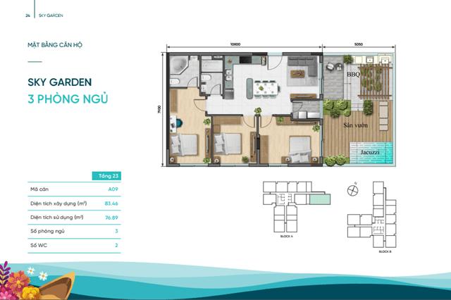 Thiết kế chi tiết 3 phòng ngủ căn hộ Sky Villa D-Aqua