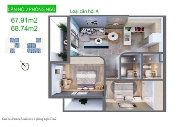Căn hộ Aurora Quận 8 - Layout căn 2 phòng ngủ