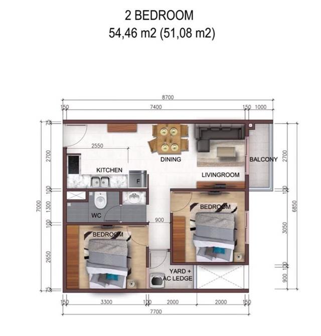 Mặt bằng căn 2 phòng ngủ City Gate 5