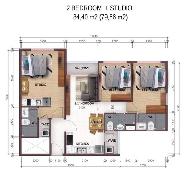 Mặt bằng căn 3 phòng ngủ City Gate 5