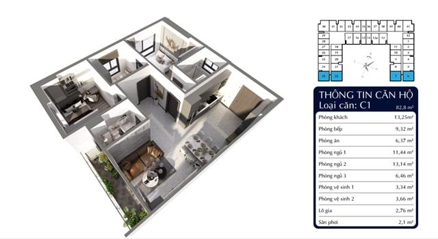 Thiết kế 3D căn 3PN căn hộ Tecco Homes Bình Dương