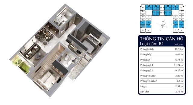Thiết kế căn 2PN tại căn hộ Tecco Home Thuận An