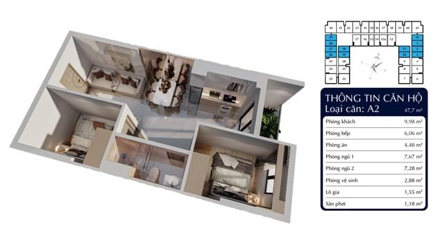 Thiết kế 3D căn 2PN căn hộ Tecco Homes Bình Dương