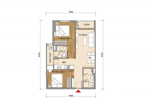 Thiết kế căn hộ Tecco Home An Phú Bình Dương - Căn 2 Phòng ngủ
