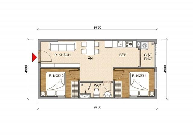 Thiết kế căn hộ Tecco Home An Phú - Căn 2 Phòng ngủ
