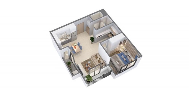 Layout thiết kế căn hộ Pegasuite 2