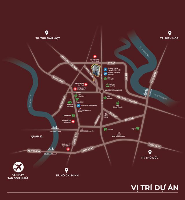 Vị trí dự án căn hộ Tecco Home An Phú Thuận An Bình Dương