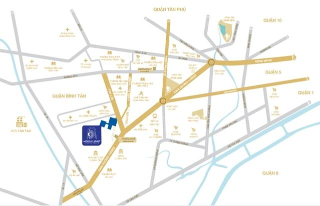 Vị trí dự án căn hộ Moonlight Bình Tân tại số 09 đường Tên Lửa