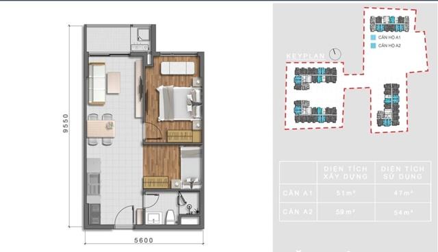 Thiết kế căn 1 phòng ngủ+ 1 diện tích 59m2