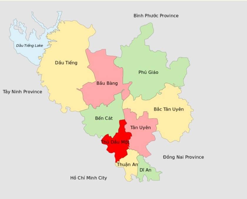 Bản độ các quận, huyện thành phố Bình Dương