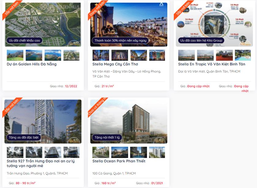 Các dự án của chủ đầu tư Kita trải dài khắp cả nước