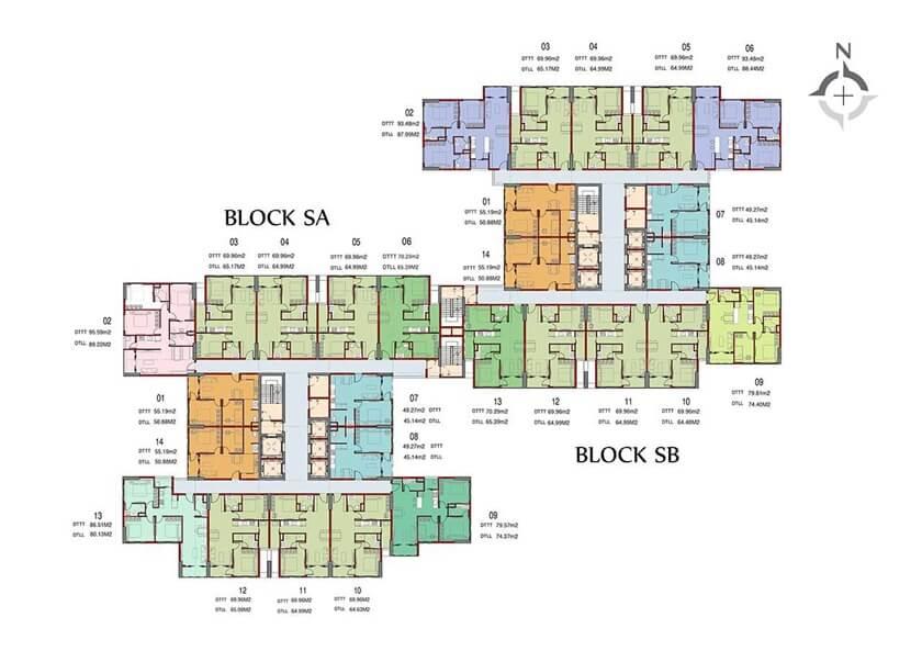 Mặt bằng căn hộ Charm City chủ đầu tư DCT Group