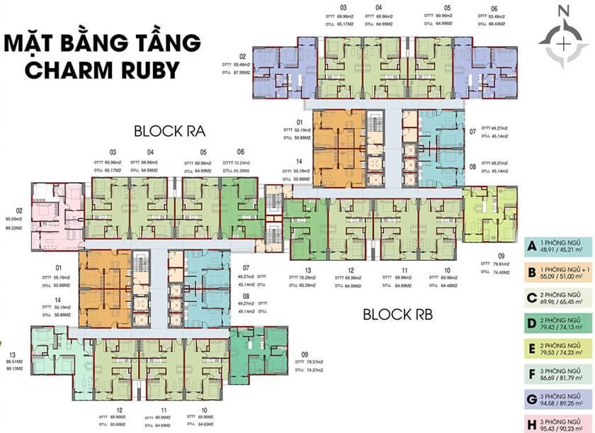 Mặt bằng căn hộ tháp Ruby dự án Charm City chủ đầu tư DCT Group