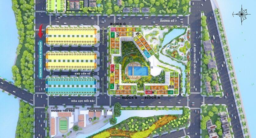 Mặt bằng căn hộ CIty Gate 3 với khu cao tầng và khu nhà phố thấp tầng