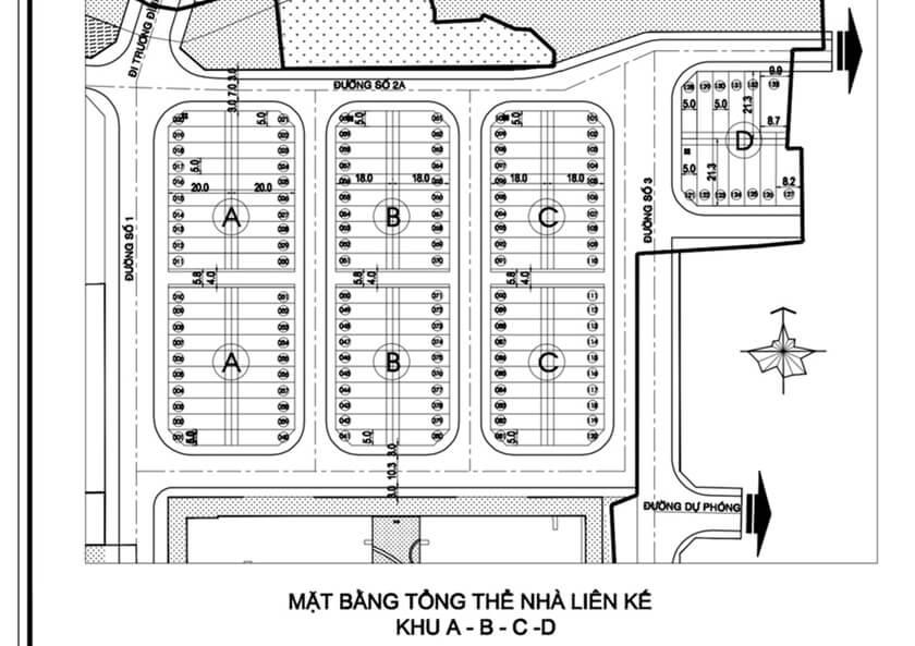 Mặt bằng bố trí chi tiết khu thấp tầng gồm 134 căn nhà phố City Gate 3