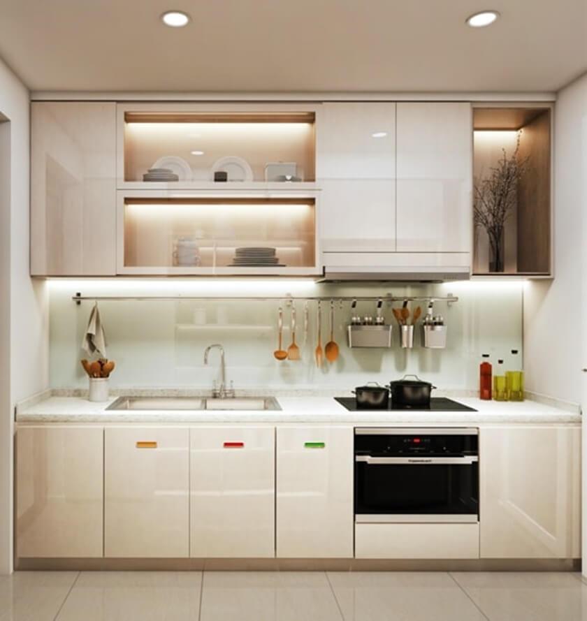 Khu vực bếp bàn giao hoàn thiện với vật liệu nhập khẩu cao cấp