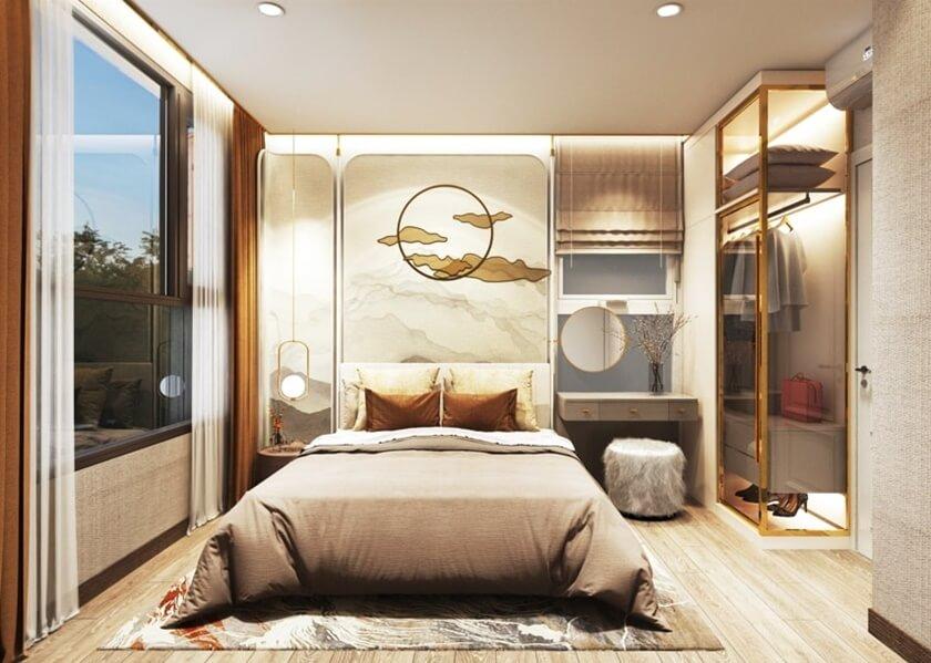Không gian phòng ngủ chính căn 2 phòng ngủ thoáng mát với cửa sổ