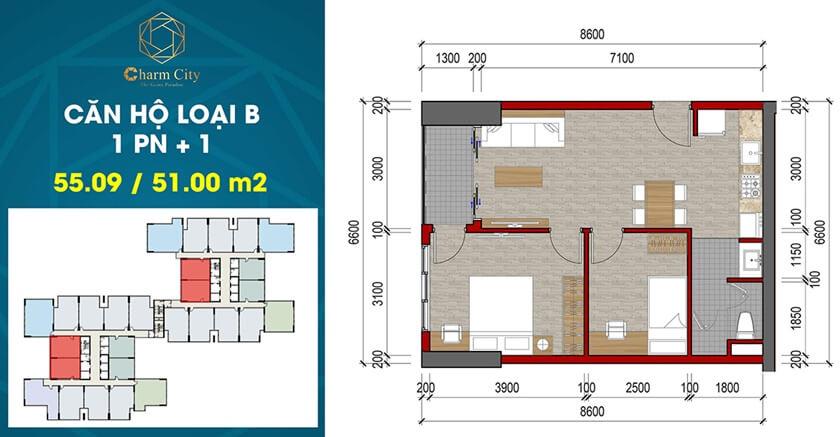 Thiết kế căn hộ Charm City Dĩ An Bình Dương chủ đầu tư DCT Group