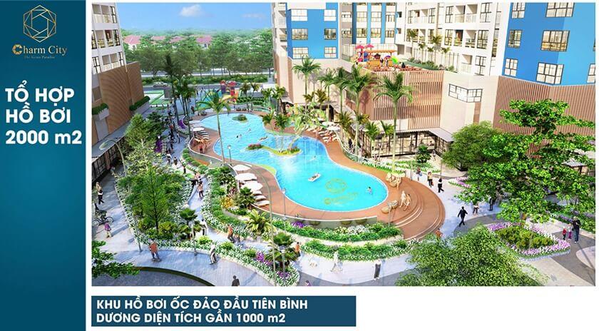Charm City sở hữu tới 3 hồ bơi trong khuôn viên dự án để phục bụ cư dân