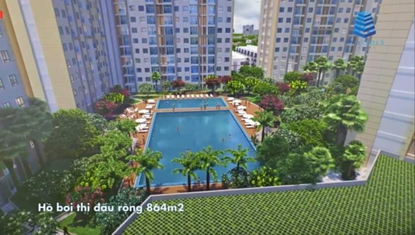 Khu hồ bơi tầng 3 với cụm tiện ích nội khu xanh mát