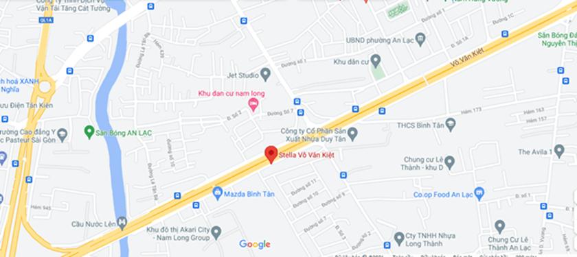 Nhìn từ trên Google Map vị trí dự án Stella 79 Võ Văn Kiệt