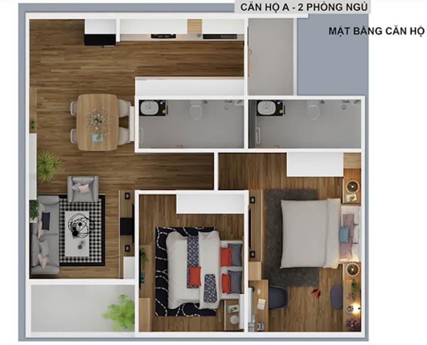 Thiết kế căn hộ 2 phòng ngủ chung cư Diamond Riverside - City Gate 2 Võ Văn Kiệt, Quận 8