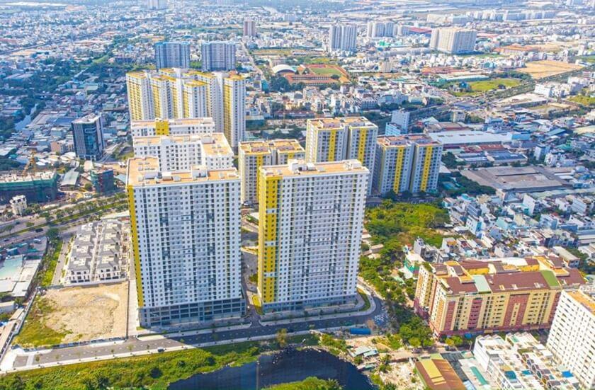 Toàn cảnh khu căn hộ chung cư Diamond Riverside nhìn từ trên cao