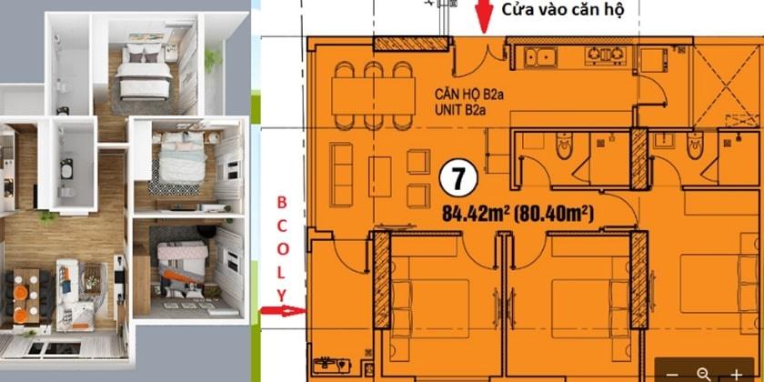 Layout thiết kế căn hộ 3PN chung cư 152 Điện Biên Phủ chủ đầu tư CII tại Bình Thạnh