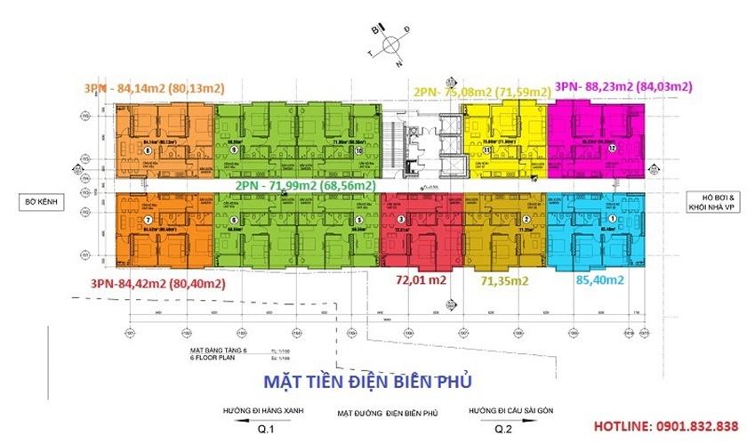 Mặt bằng bố trí căn hộ Penhouse dự án 152 Điện Biên Phủ Bình Thạnh chủ đầu tư CII