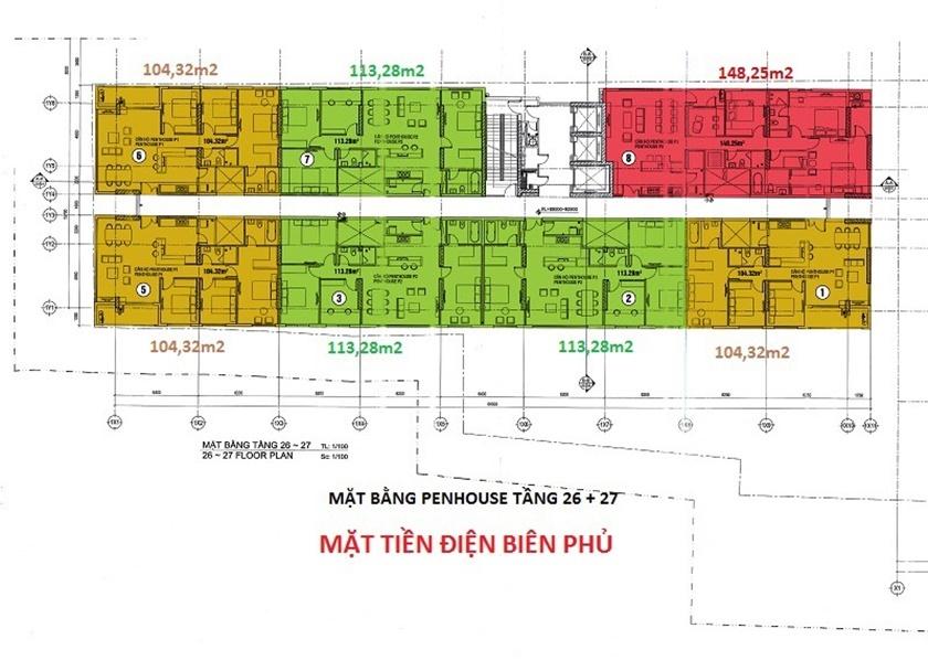 Mặt bằng căn hộ 152 Điện Biên Phủ tầng điển hình