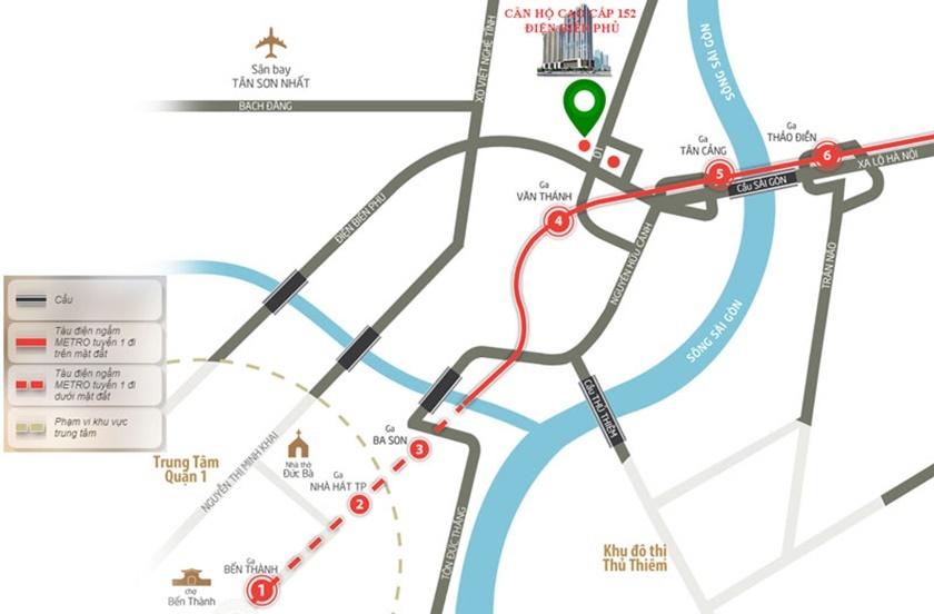 Vị trí dự án 152 Điện Biên Phủ tại góc được D1 và đường Điện Biên Phủ