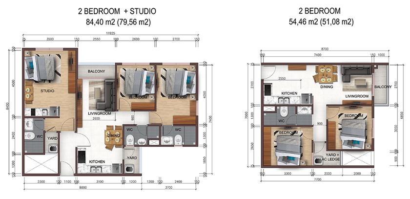 Thiết kế căn hộ City Gate 5 Bình Chánh loại 2 và 3 phong ngủ