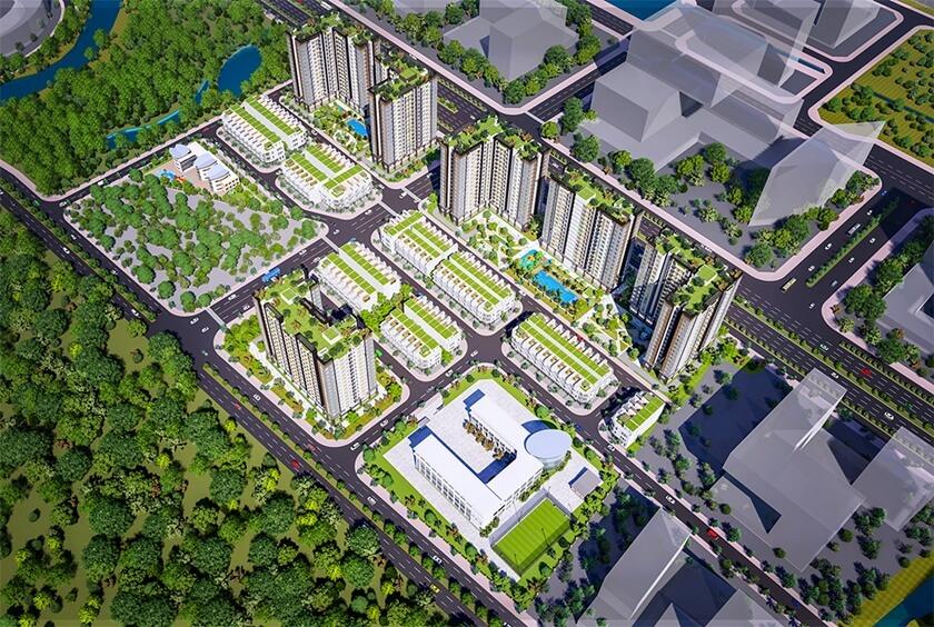 Toàn bộ các phân khu trong dự án Gate 5 Bình Chánh nhìn từ trên cao
